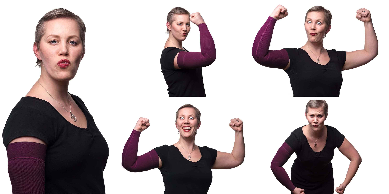 Kompressionsstrumpf arm lila Christine Raab Übungen