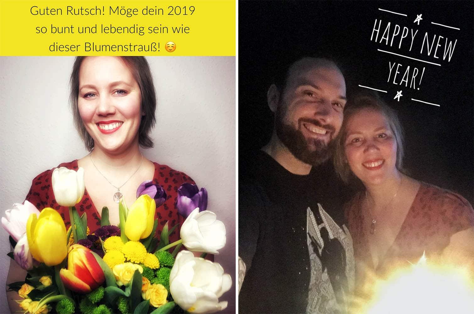 Christine und Timo Raab wünschen frohes neues Jahr mit Blumenstrauß und Wunderkerze