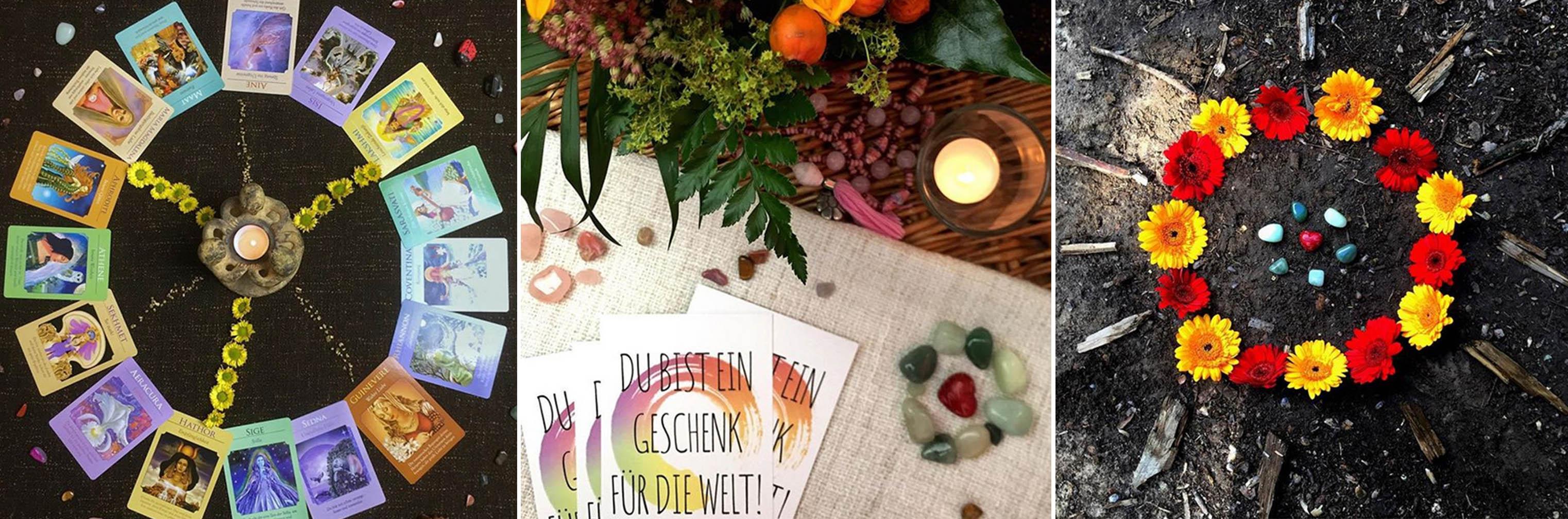 Raum Mitte Kerzen Orakelkarten Blumen Mein Flyer mit dem Spruch Du bist ein Geschenk für die Welt