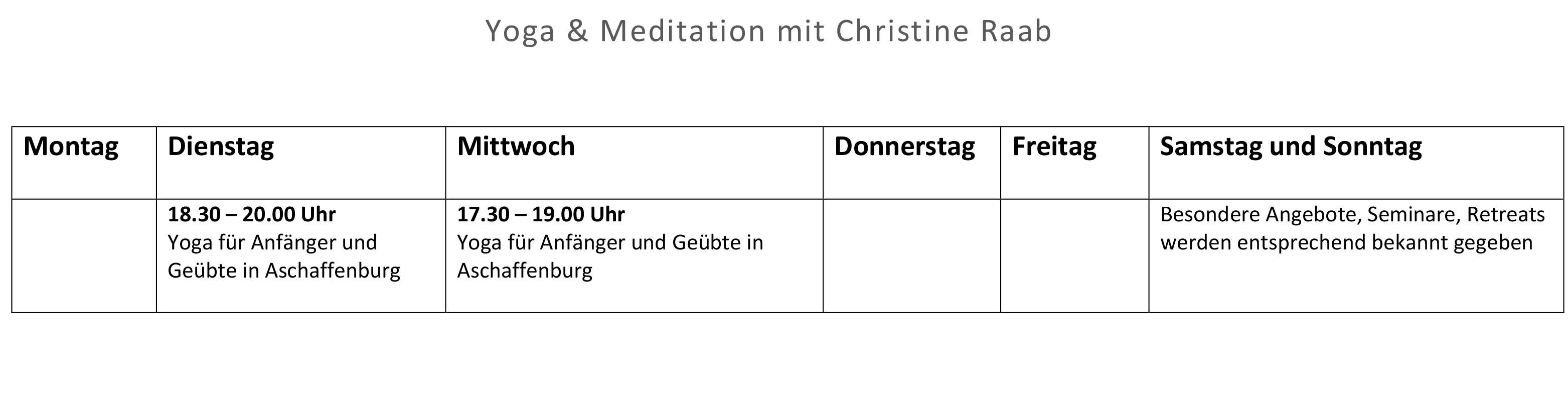 Yoga in Aschaffenburg mit Christine Raab, alle aktuellen Termine, Alzenau, Hatha Yoga, Meditation