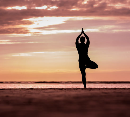 Christine Raab macht die Yogapose Baum am Strand in Holland Silouettenbild im Sonnenuntergang orange