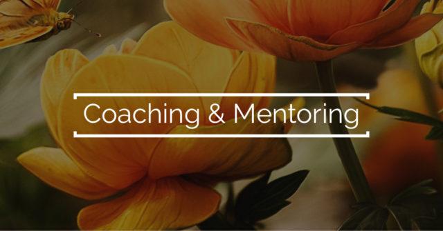 Gelbe Blumen mit dem Text Coaching und Mentoring